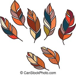 Set of vector ornate intricate feather. Doodle. Zentangle