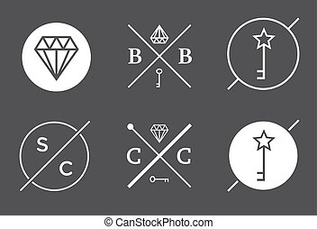 Set of Vector Outline Badges or Emblems Abstract Hipster Logo Templates
