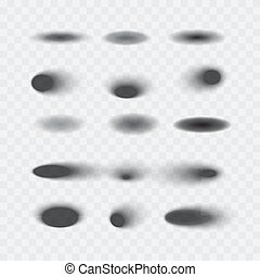 Set of vector oval shadows isolated