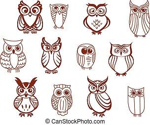 Set of vector owls - Set of line drawn cartoon vector owls...