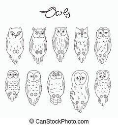 Set of vector owls, lineart
