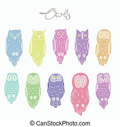 Set of vector owls
