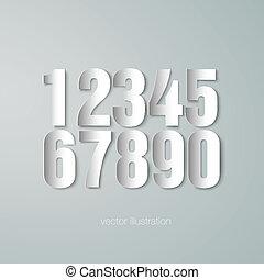 set of vector paper numerals