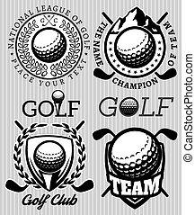 set of vector patterns badges for golf