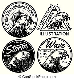 set of vector patterns for design on theme of water, surfing, ocean, sea