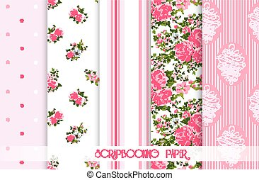 Set of vector patterns with roses. Seamless floral background and borders.