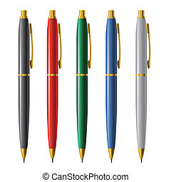 Set of vector pens