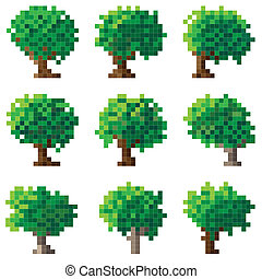 Set of simple vector green pixel tree(16x16 cells).