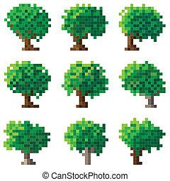 Set of vector pixel tree. - Set of simple vector green pixel...