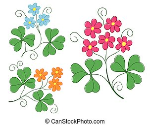set of vector plants with flowers
