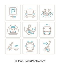 Set of vector public transport icons and concepts in mono thin line style