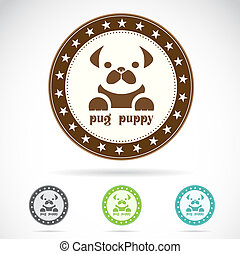 Set of vector pug puppy label on white background
