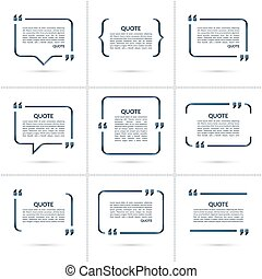 Set of vector quote templates isolated on white background -...