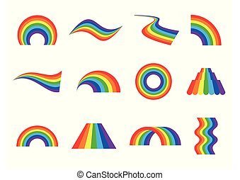 Set of vector rainbows icons isolated on white background. Different abstract shapes.