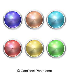 Set of Vector realistic color glass button with metal elements