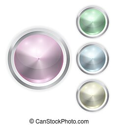 Set of vector realistic color glass button with metal frame