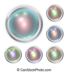Set of vector realistic color metal button with patch of light and frame