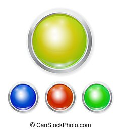 Set of Vector realistic color plastic button with patch of light and metal element