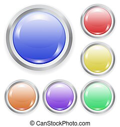 Set of vector realistic color plastic button with patch of light and metal frame