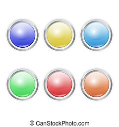Set of Vector realistic colorful plastic button