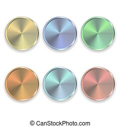 Set of Vector realistic metal color buttons for domestic electronics