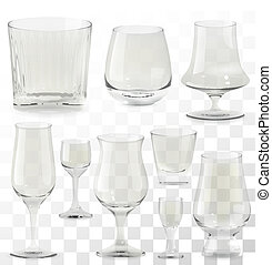 Set of vector realistic transparent whiskey glasses. Alcohol drink glass icons illustration