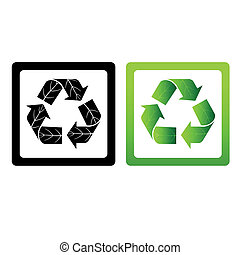 set of vector recycle symbols
