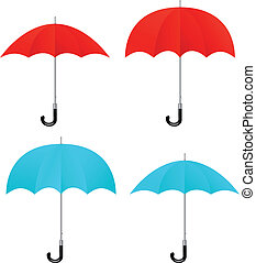 Set of vector red, blue umbrellas