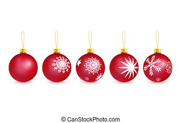 set of vector red glass christmas tree balls with drawing snowflakes