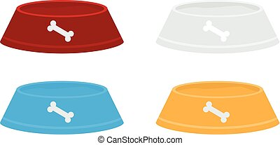 Set of Vector red pets bowls for dry food and water. Solid and flat color design.