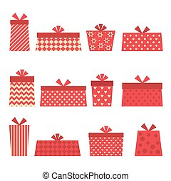 Set of vector red presents