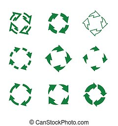 Set of vector refresh and recycling arrows for web. COLLECTION OF ICONS.