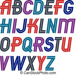 Set of vector regular upper case English alphabet letters...