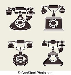 Set of vector retro phones on a gray background