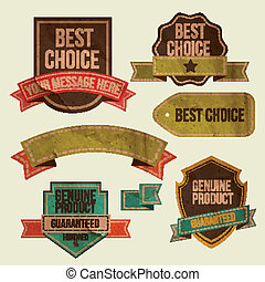 Set of vector retro ribbons, old dirty paper textures and...