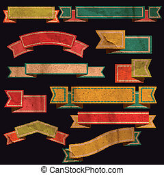 Set of vector retro ribbons, old dirty paper textures