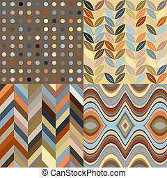 Set of Vector Retro Seamless Abstract Wavy Backgrounds