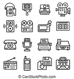 Set of Vector Retro Technology Outline Icons
