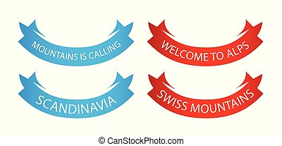 Set of Vector Ribbons for decoration of travel company, making order and action to Travel in Mountains.