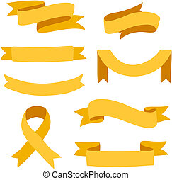 Set of vector ribbons isolated on white background