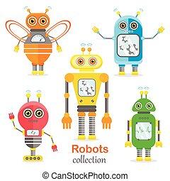 Set of vector robots in cartoon style.