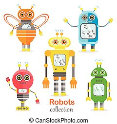 Set of vector robots in cartoon style.