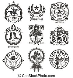 Set of vector rodeo logos, badges with cowboys silhouettes...