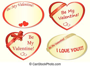 set of vector romantic frames with hearts