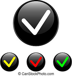set of vector round chrome with check on white background