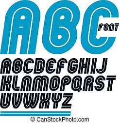 Set of vector rounded bold capital alphabet letters made...
