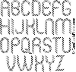 Set of vector rounded capital alphabet letters isolated created using guilloche ornate, decorate waves. Can be used for certificate design.
