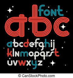 Set of vector rounded lower case funky English alphabet letters with parallel lines, can be used as logo design element for event companies.