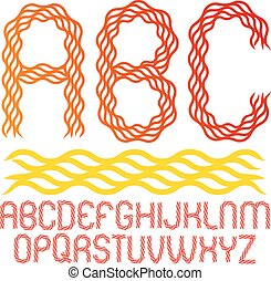 Set of vector rounded upper case alphabet letters isolated made with hot flaming design