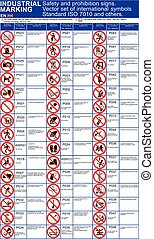 Set of vector safety signs, prohibition ISO 7010 standard icons for buildings applications. International standard prohibition symbols. Vector graphic hazard warning symbols marks. Public infographic signs